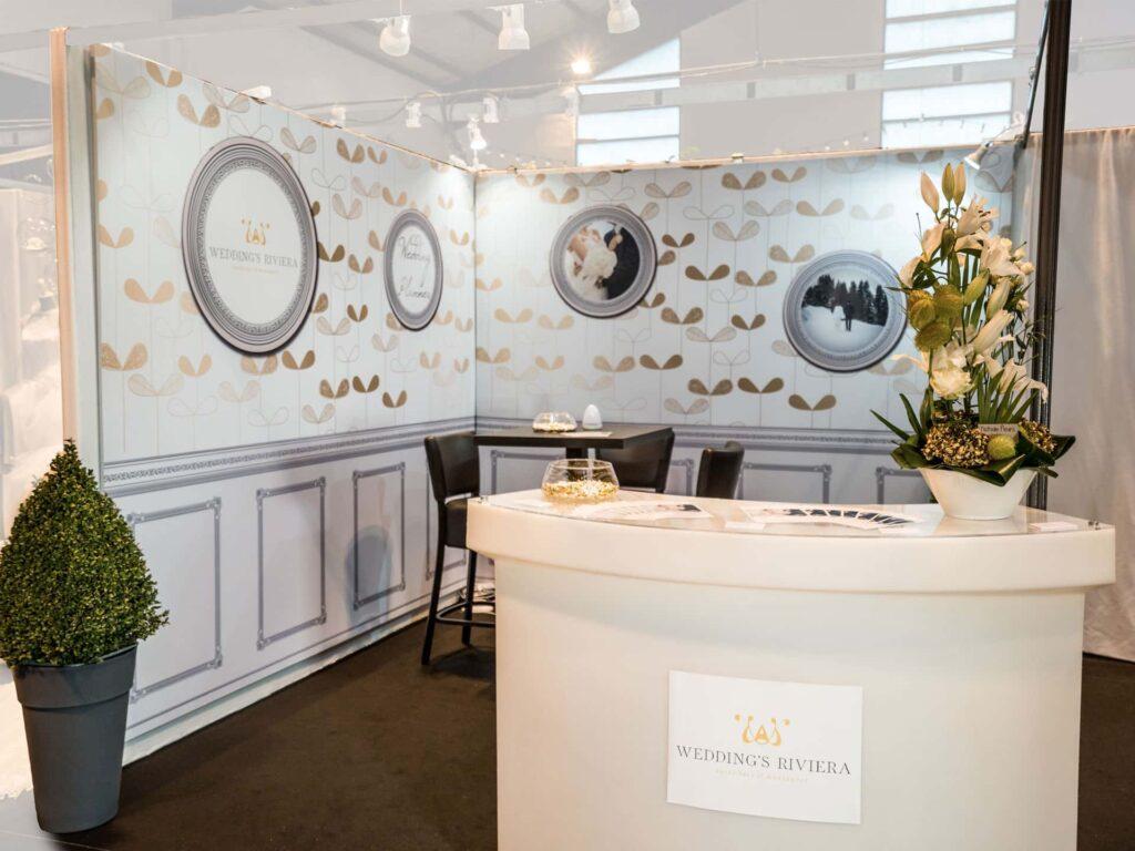 Habillage de stand toile tendue sur cadre - Kit Premium - Toile tendu sur cadre - réalisations Wedding's Riviera