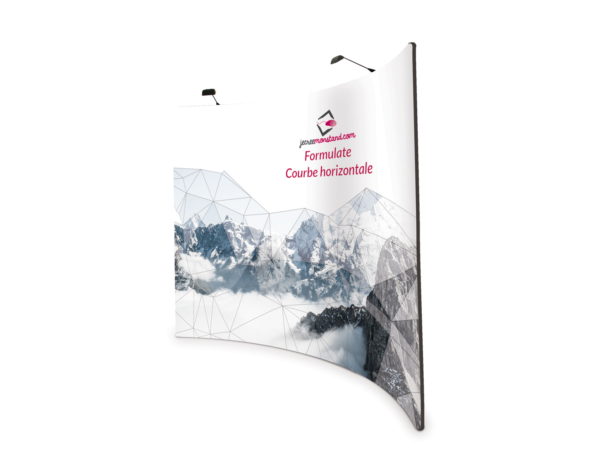 Mur d'image recto-verso courbe horizontal pour stand exposant