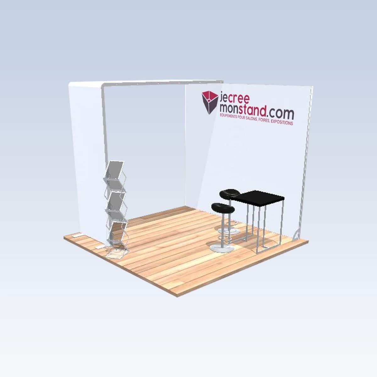 Stand modulaire 9m2 clé en main 3 côtés ouverts